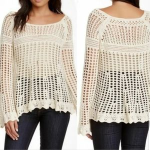 Free People   Annabelle Crochet Pullover Sweater